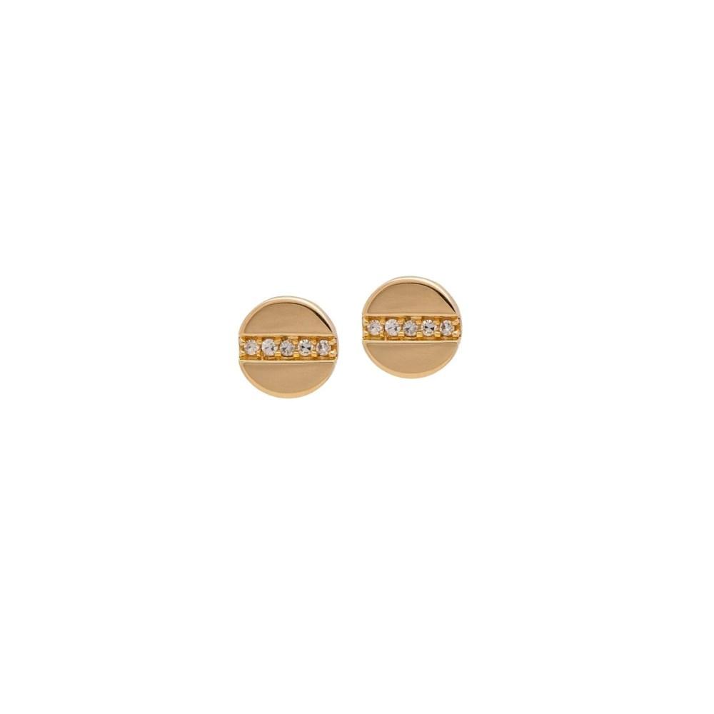 Petite Diamond Nail Head Diamond Earrings 14k Yellow Gold