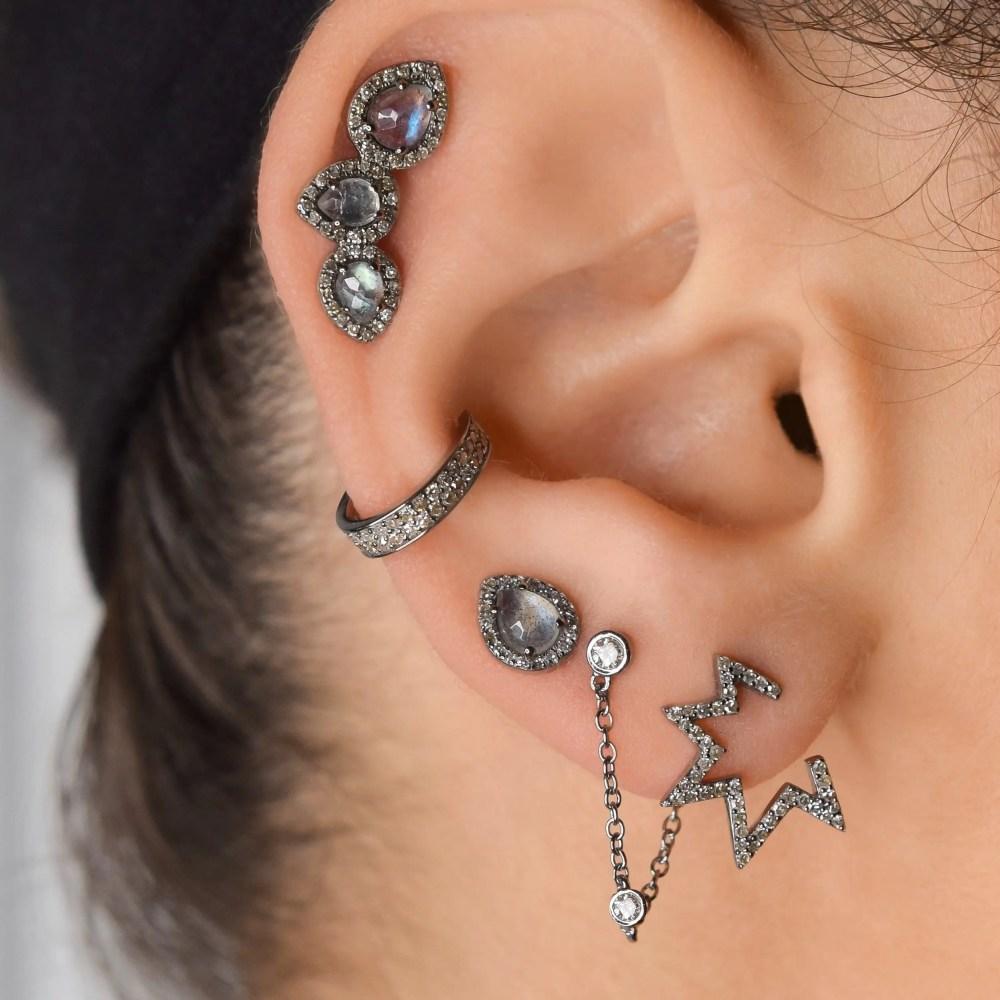 Small Open Mod Diamond Star Earrings