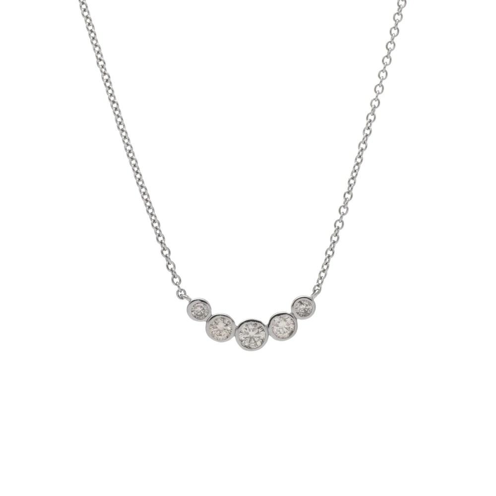 5 Diamond Bezel Set Diamond Necklace Sterling Silver