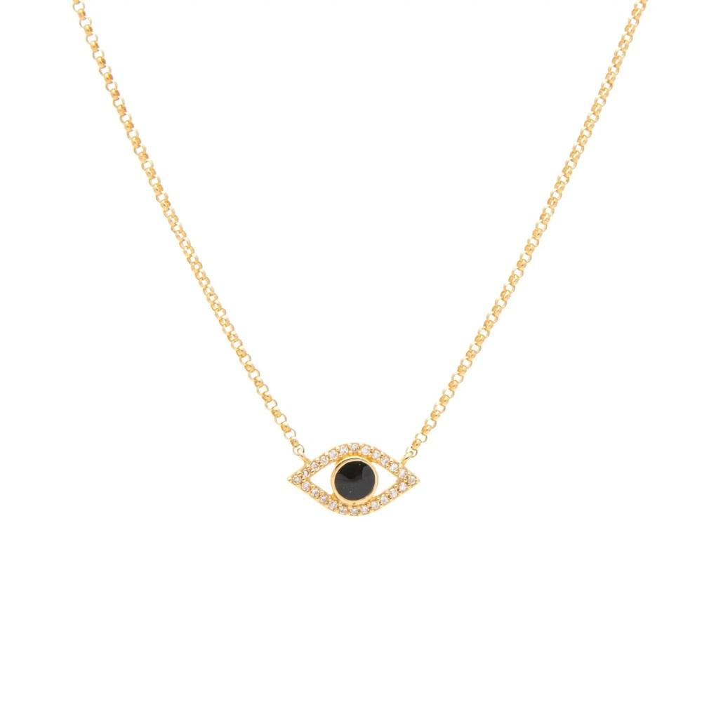 Diamond + Black Enamel Evil Eye Necklace Yellow Gold