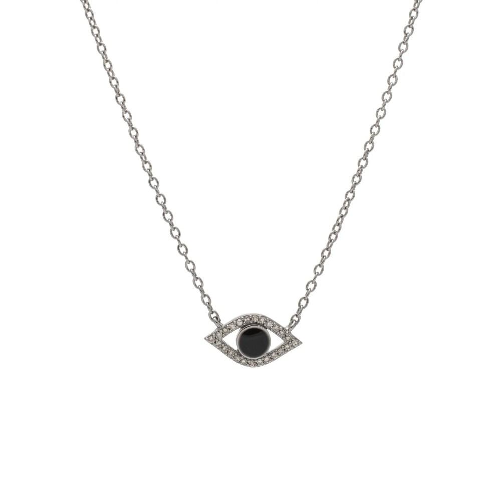 Diamond + Black Enamel Evil Eye Necklace