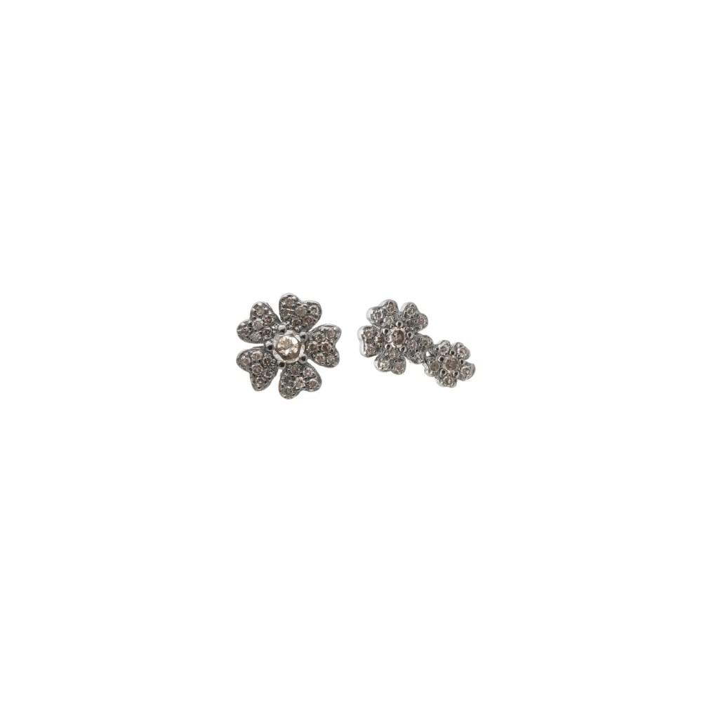 Diamond Double Flower Earrings