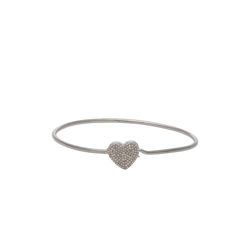 Diamond Heart Wire Bracelet Sterling Silver