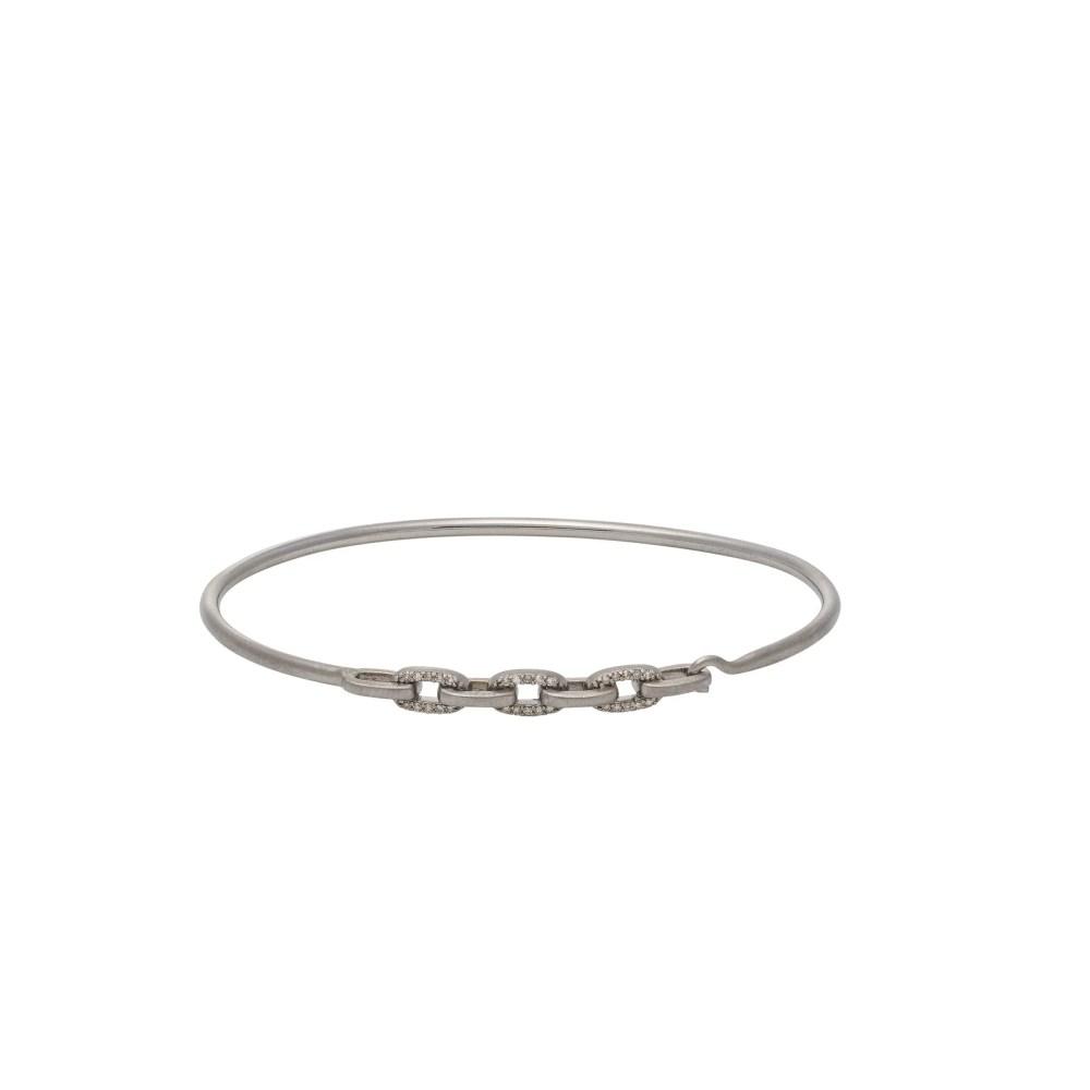 Diamond Link Wire Bracelet Sterling Silver