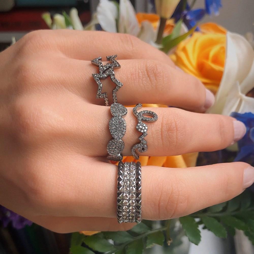 Diamond Love Bold Script Ring