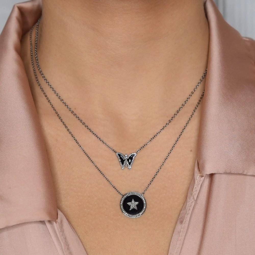 Diamond Mini Black Enamel Butterfly Necklace
