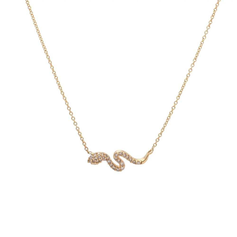 Diamond Mini Serpentine Necklace Yellow Gold