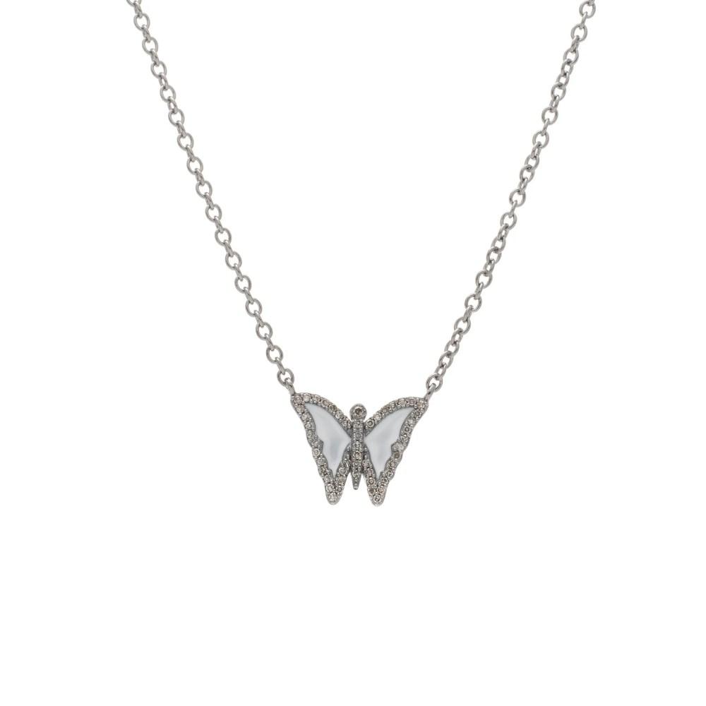 Diamond Mini White Enamel Butterfly Necklace Sterling Silver