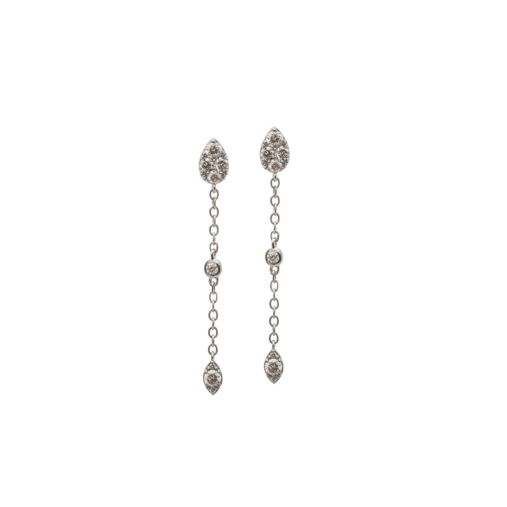 Diamond Pear Drop Chain Earrings Sterling Silver