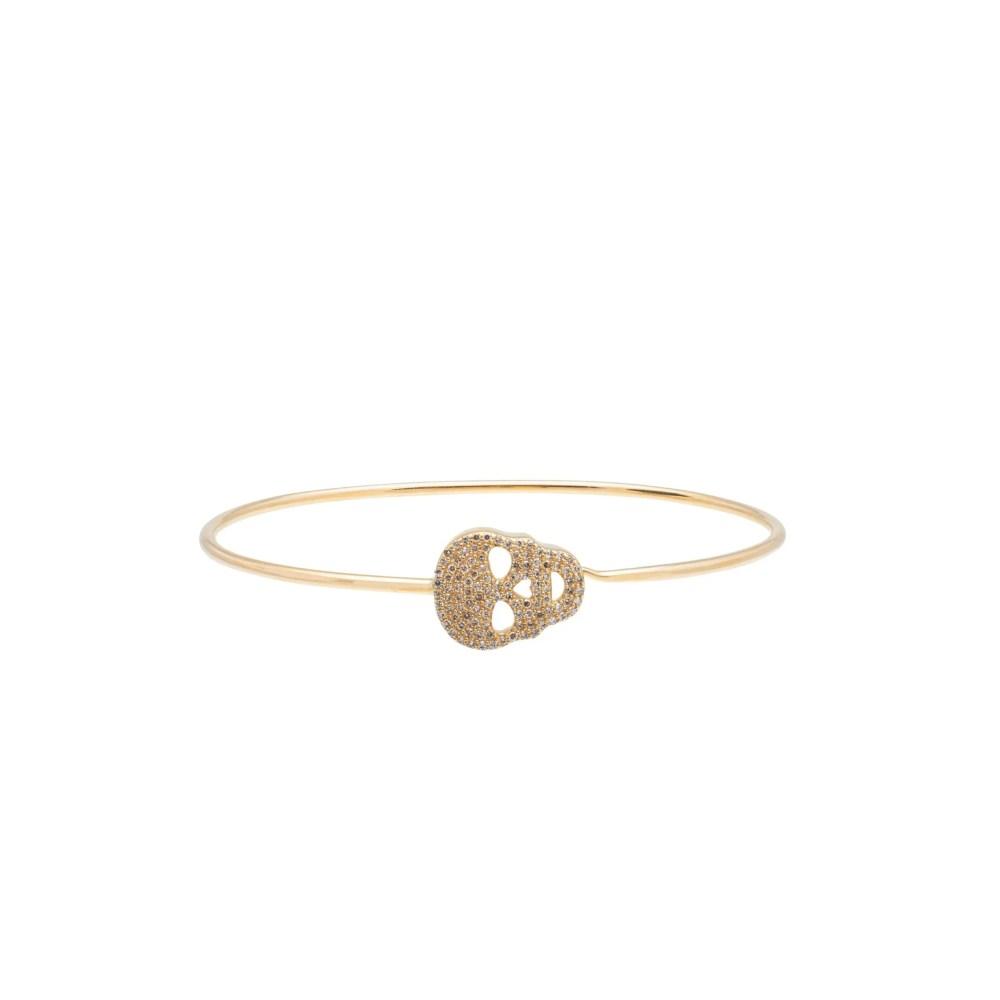 Diamond Skull Wire Bracelet 14k Yellow Gold