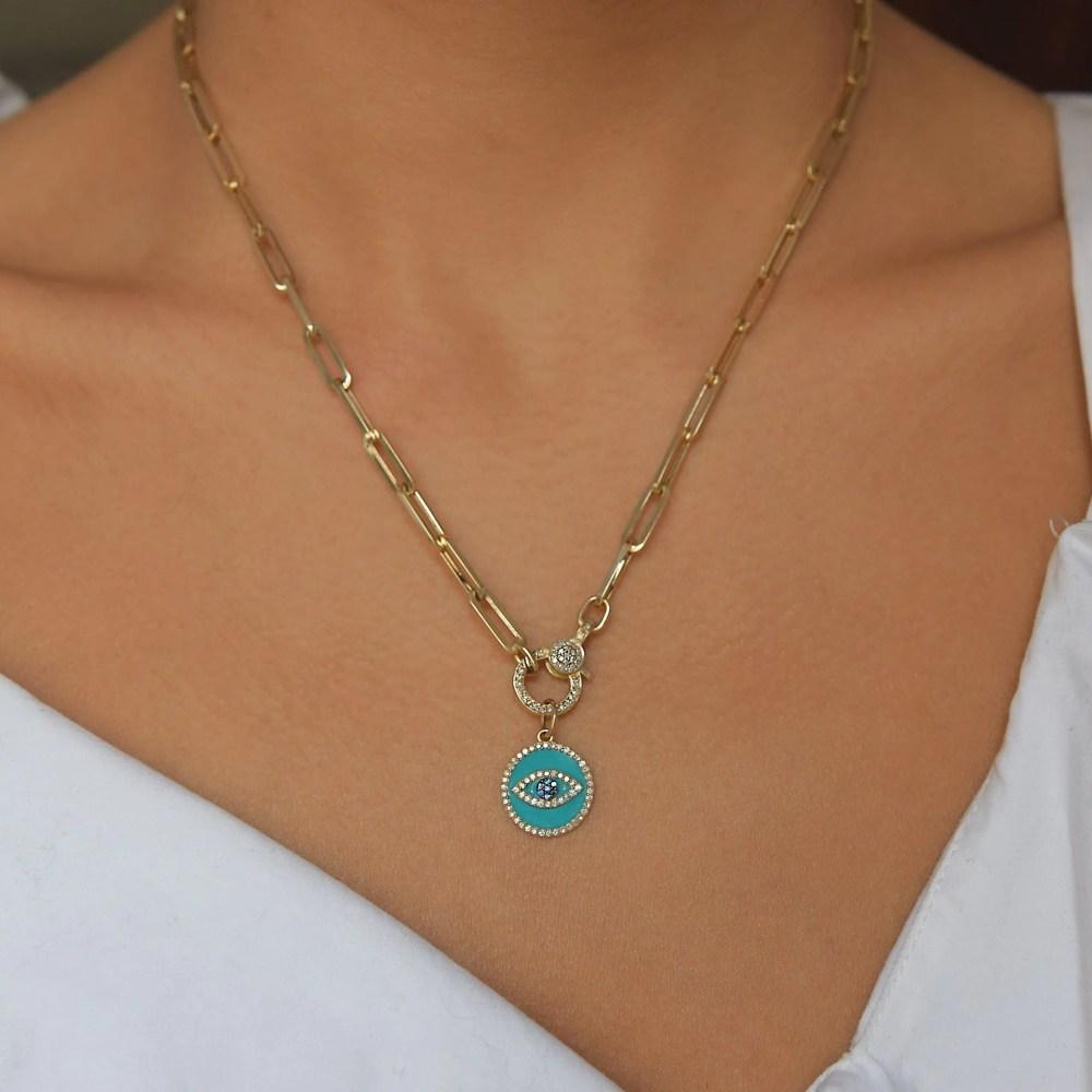 Mini Diamond Turquoise Enamel Evil Eye with Sapphires Charm