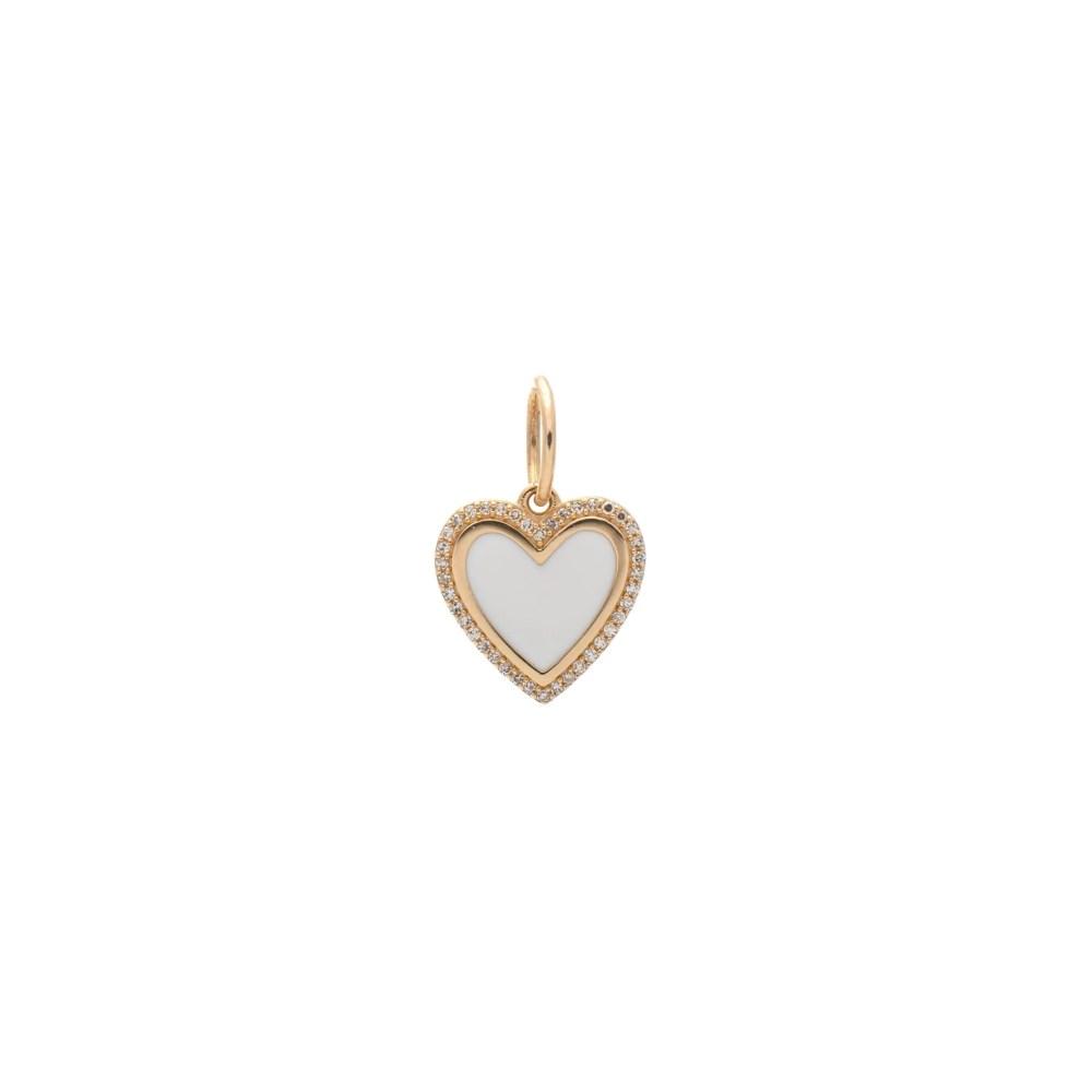 Mini Diamond + White Enamel Heart Charm Yellow Gold