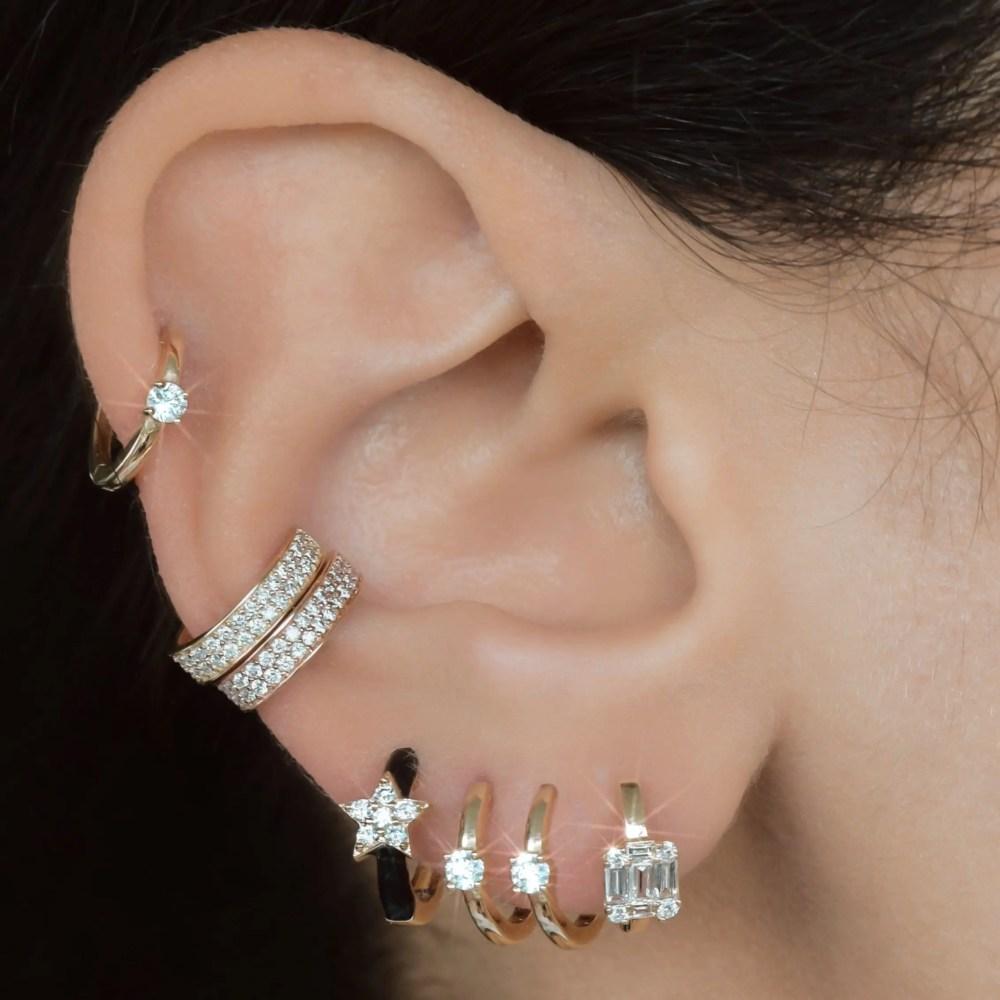 Diamond Square Baguette Huggie Earrings