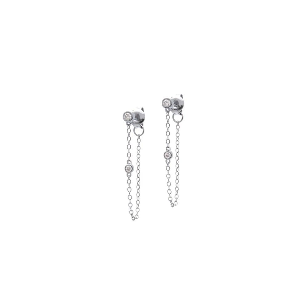 Mini Bezel Diamond-By-The-Yard Chain Drop Earrings Sterling Silver
