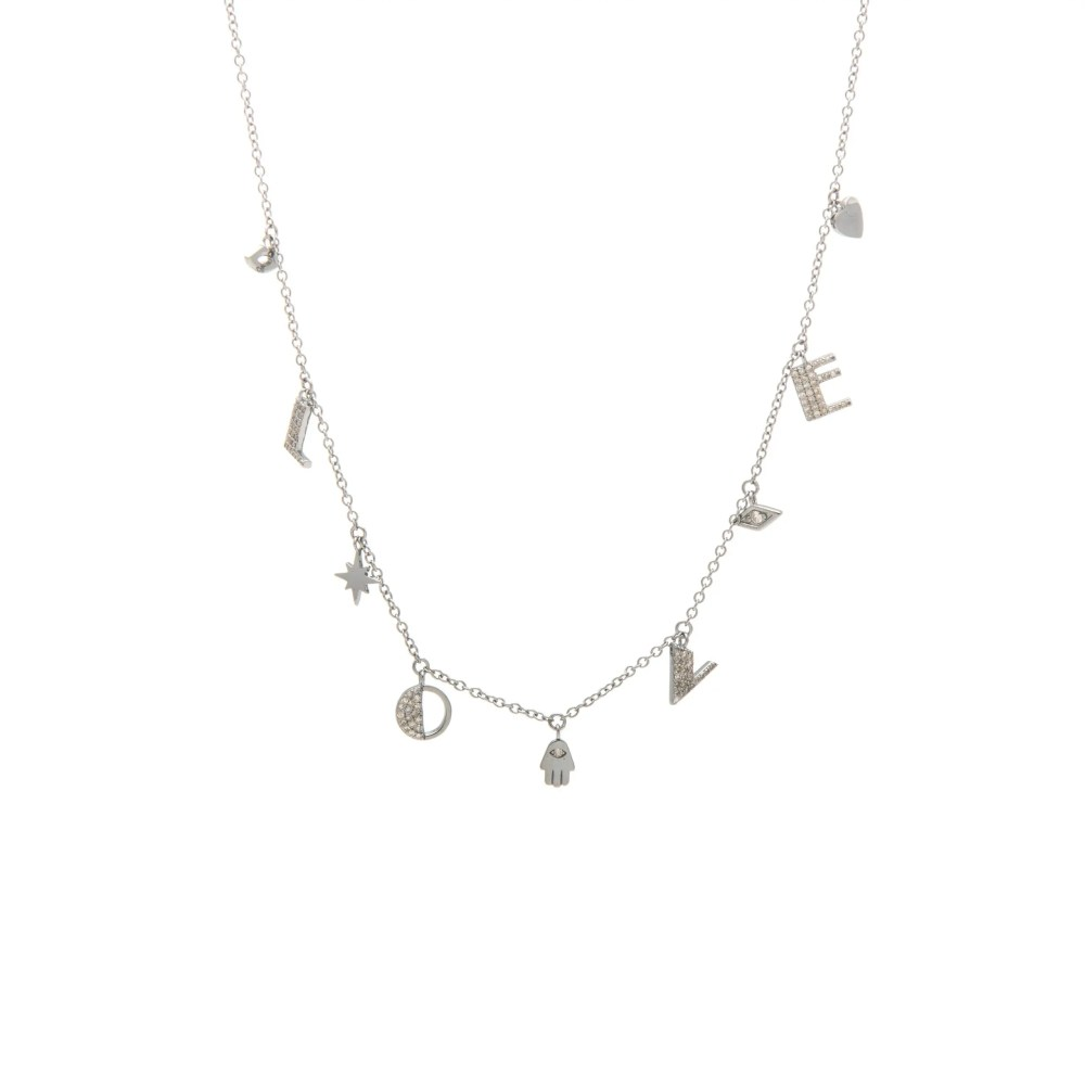 Diamond Dangling LOVE Necklace with Mini Protection Charms Sterling Silver