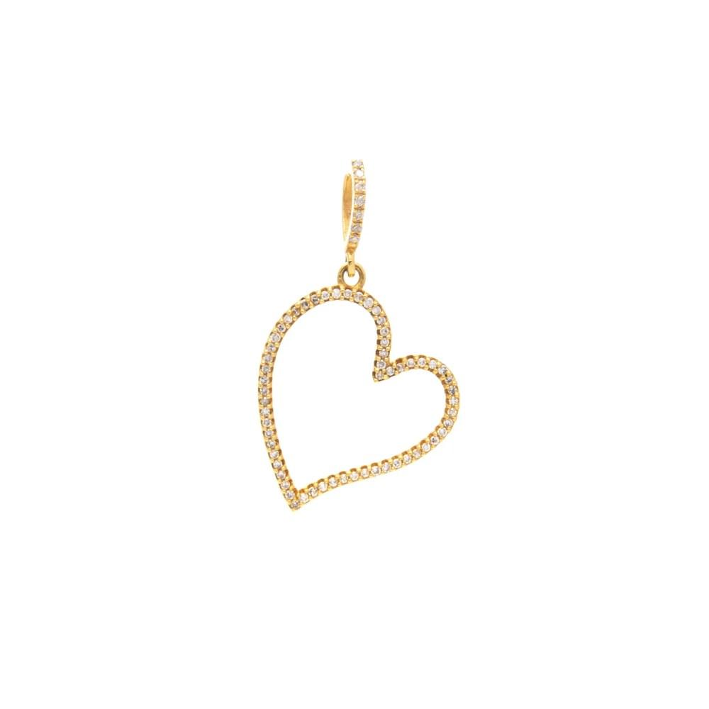 Diamond Open Heart Dangle Charm Yellow Gold