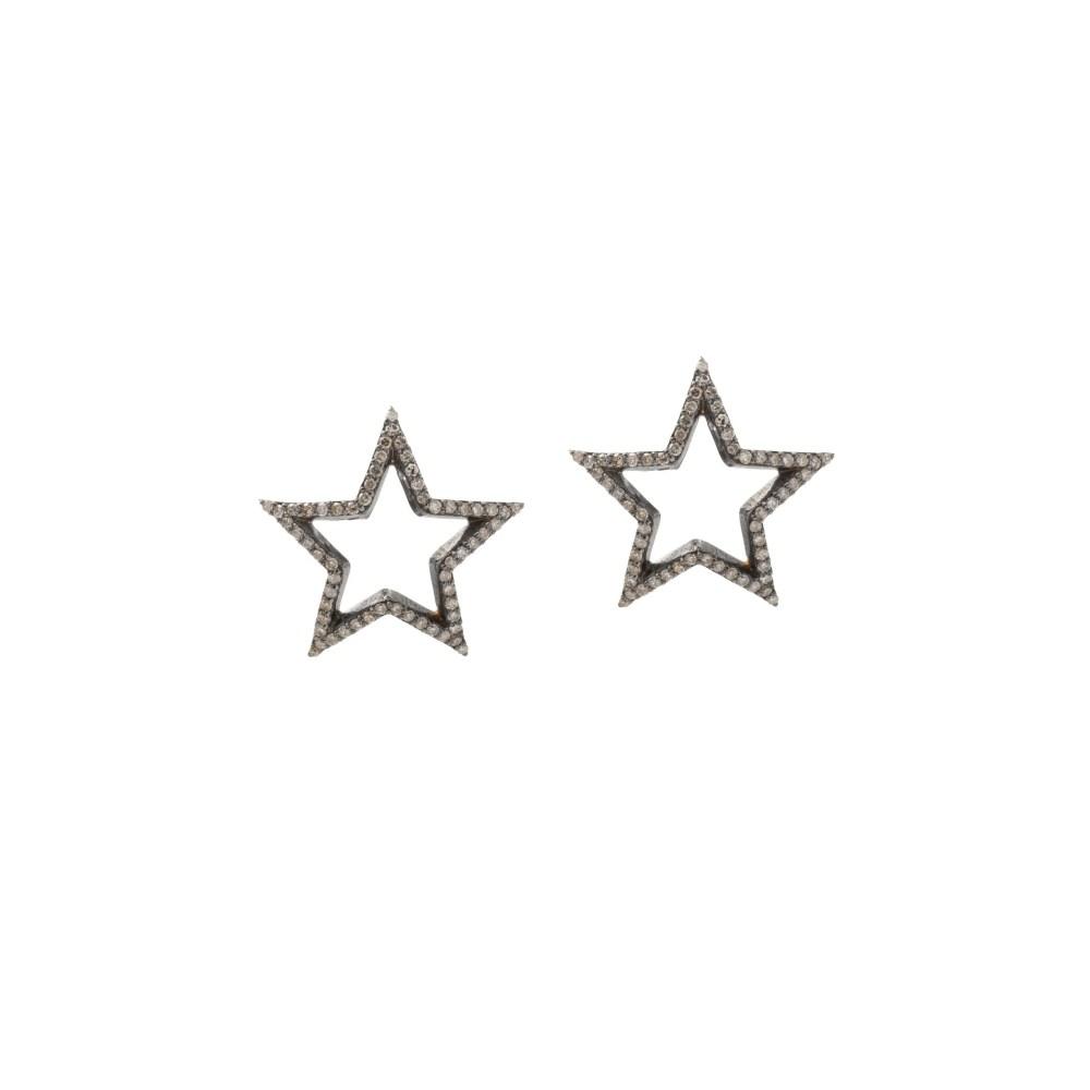 Medium Diamond Open Star Earrings Sterling Silver