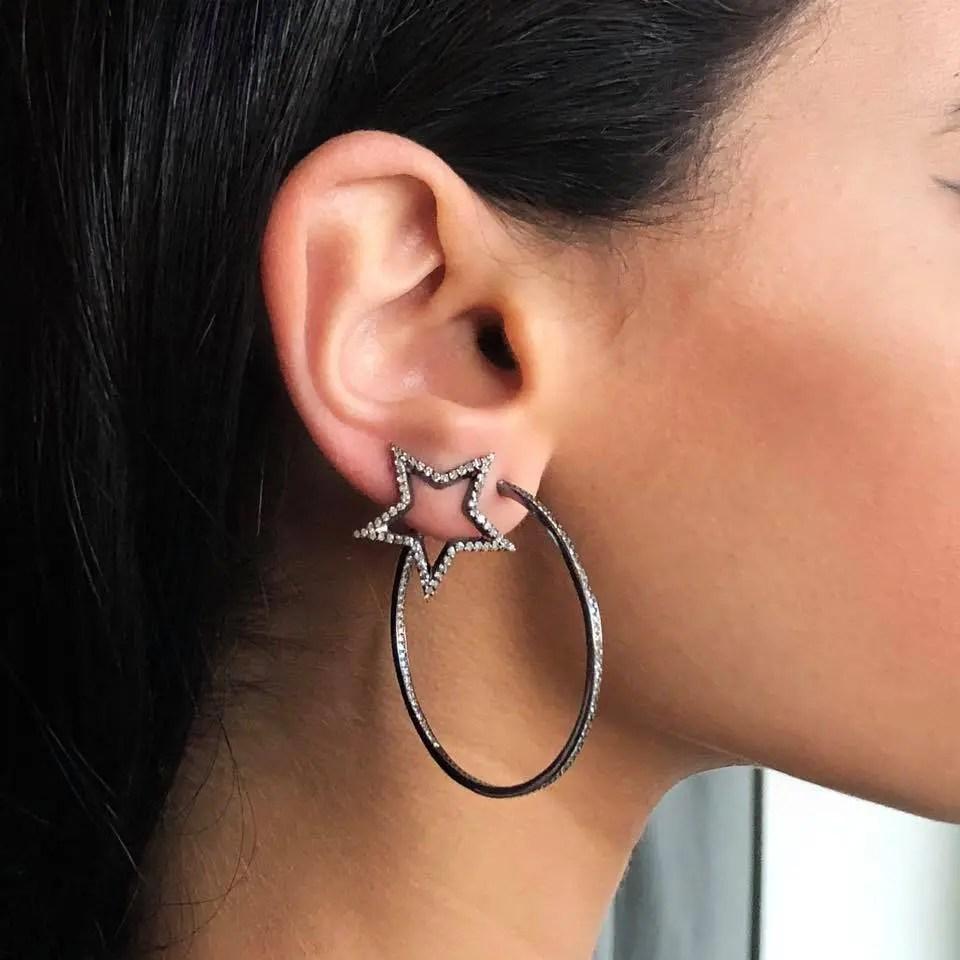Medium Diamond Open Star Earrings