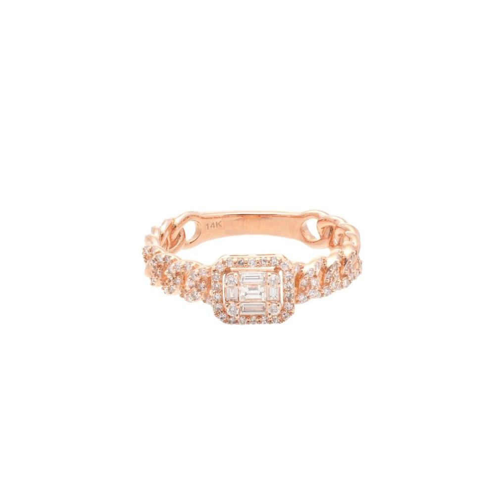Diamond Baguette Link Chain Ring Rose Gold