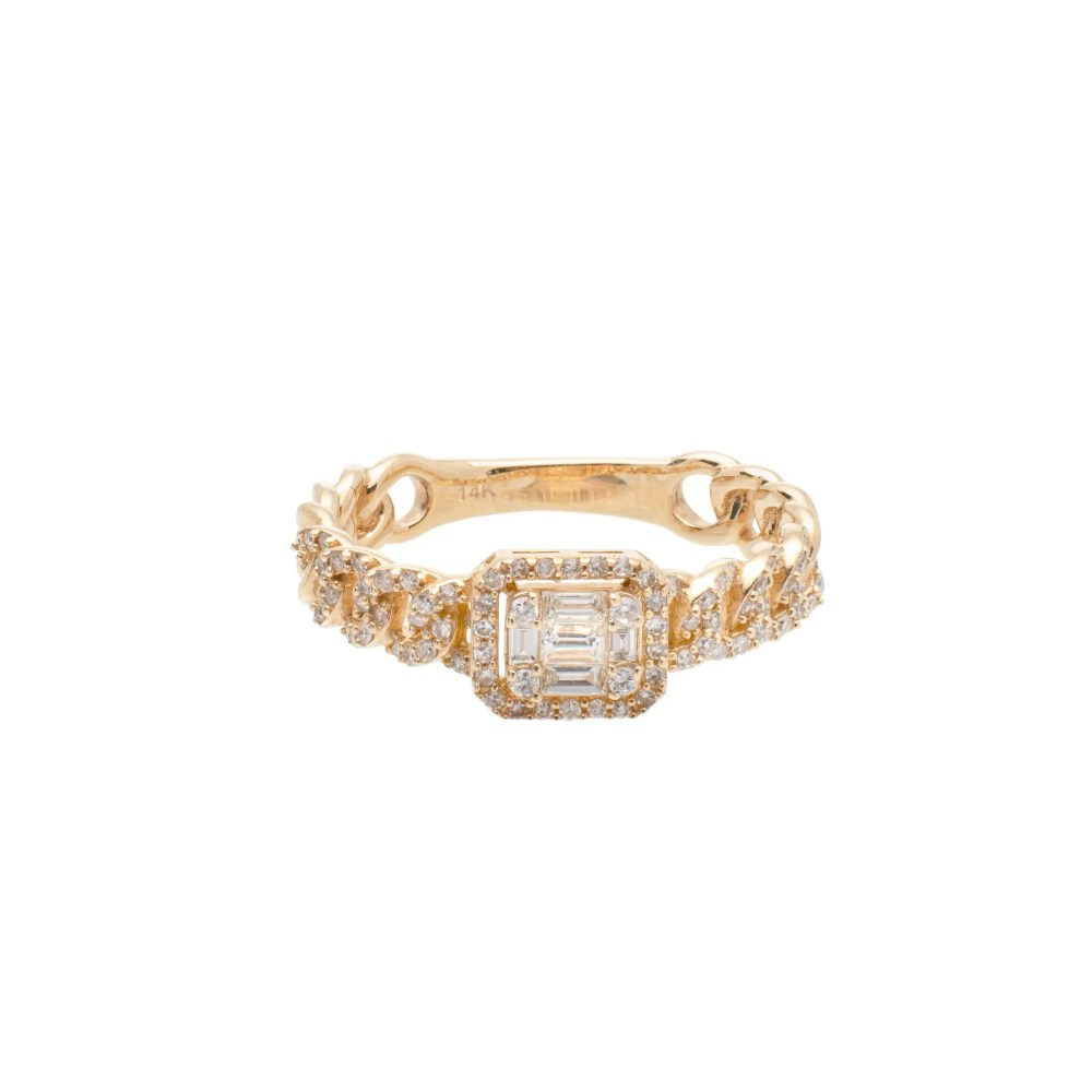 Diamond Baguette Link Chain Ring Yellow Gold