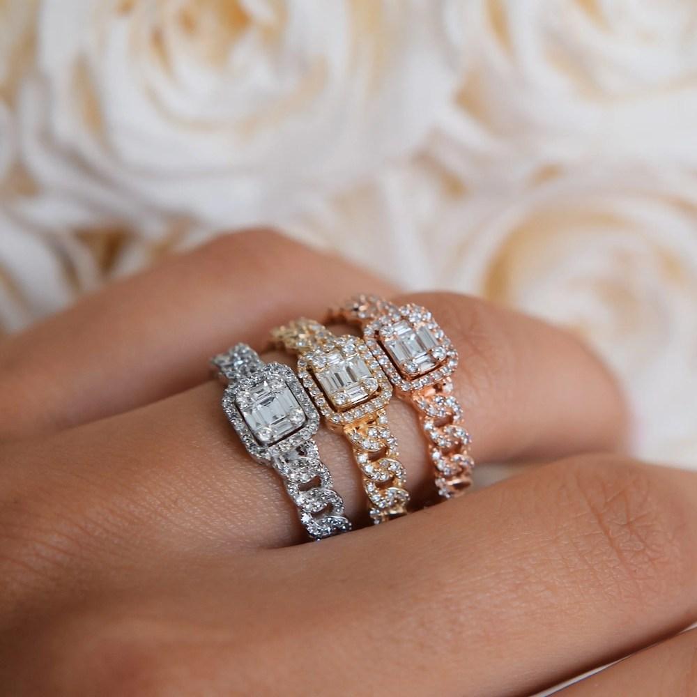 Diamond Baguette Link Chain Ring