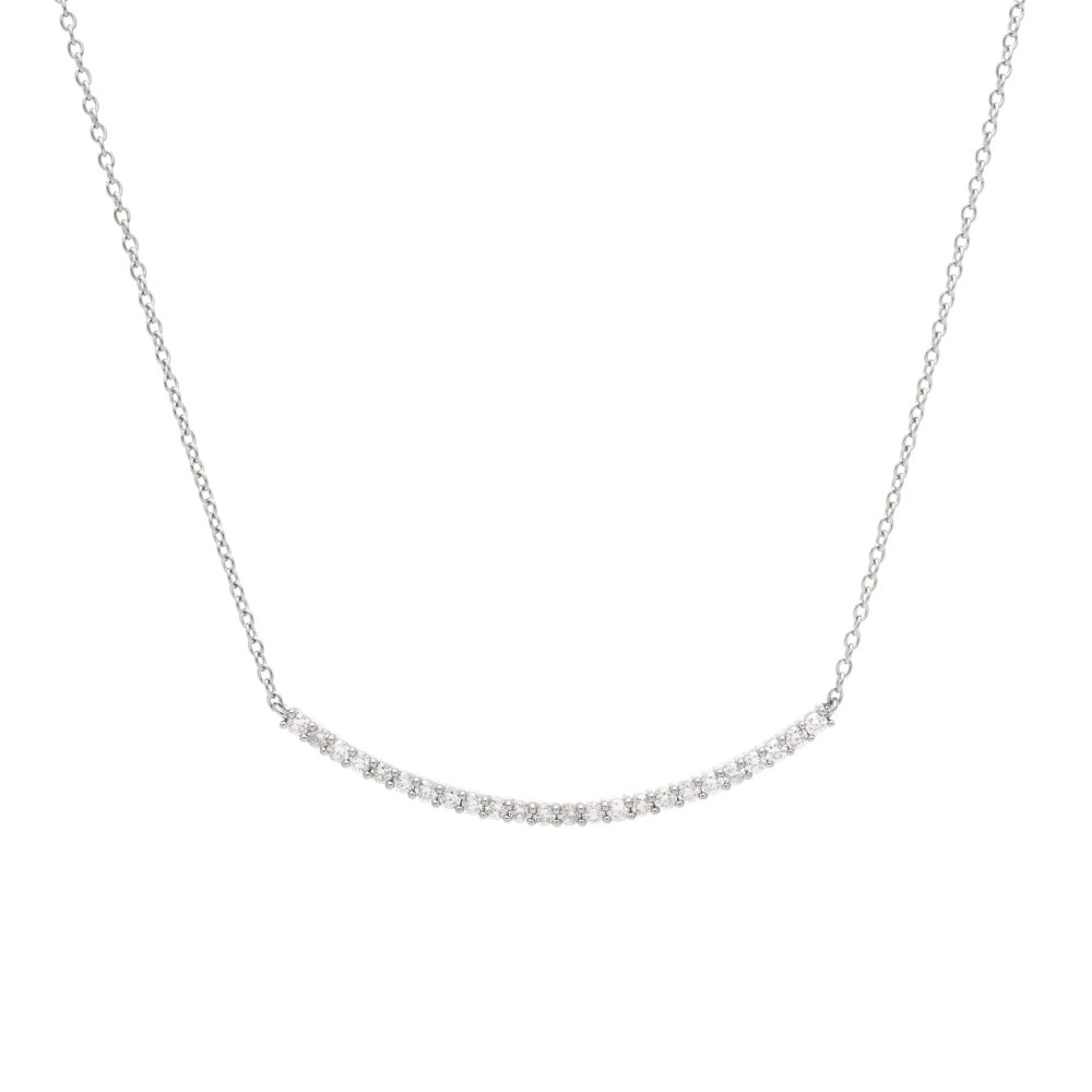 Diamond Ball Set Curved Bar Necklace Sterling Silver