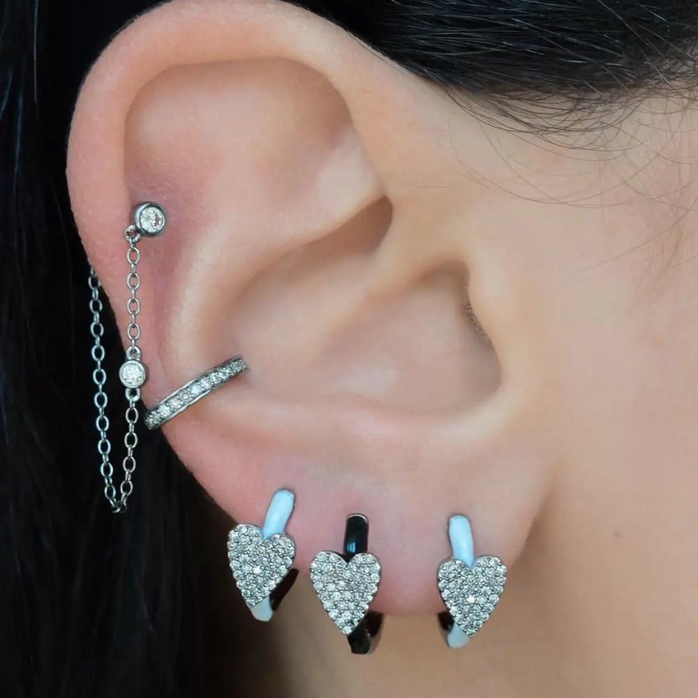 Diamond Heart White Enamel Huggie Earrings