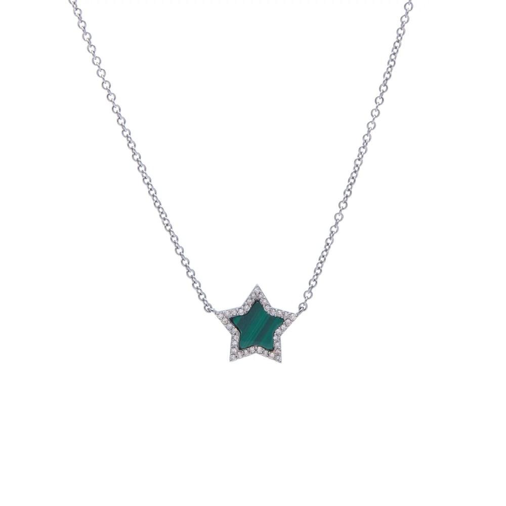 Diamond Mini Malachite Star Necklace Sterling Silver