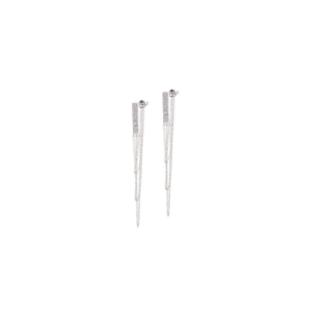 Diamond Rectangle Multi-Chain Earrings White Gold