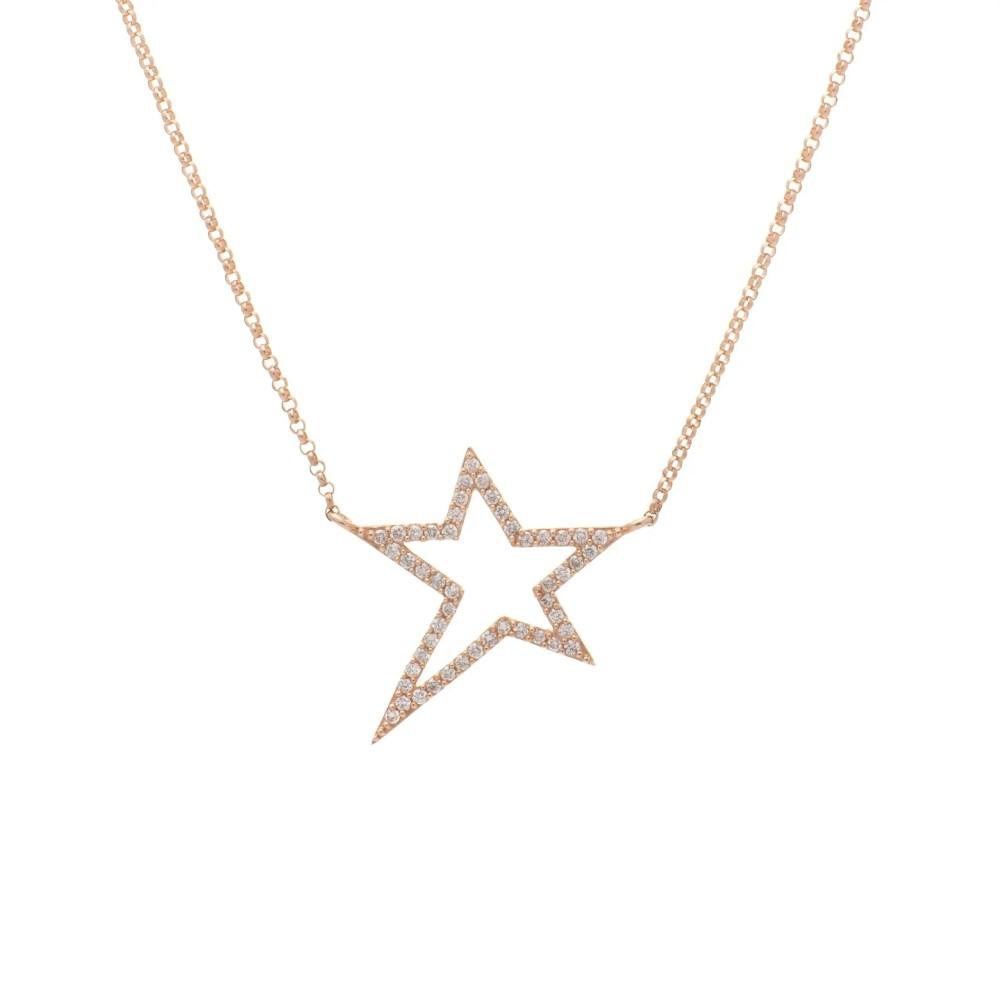 Small Diamond Star Statement Necklace Yellow Gold