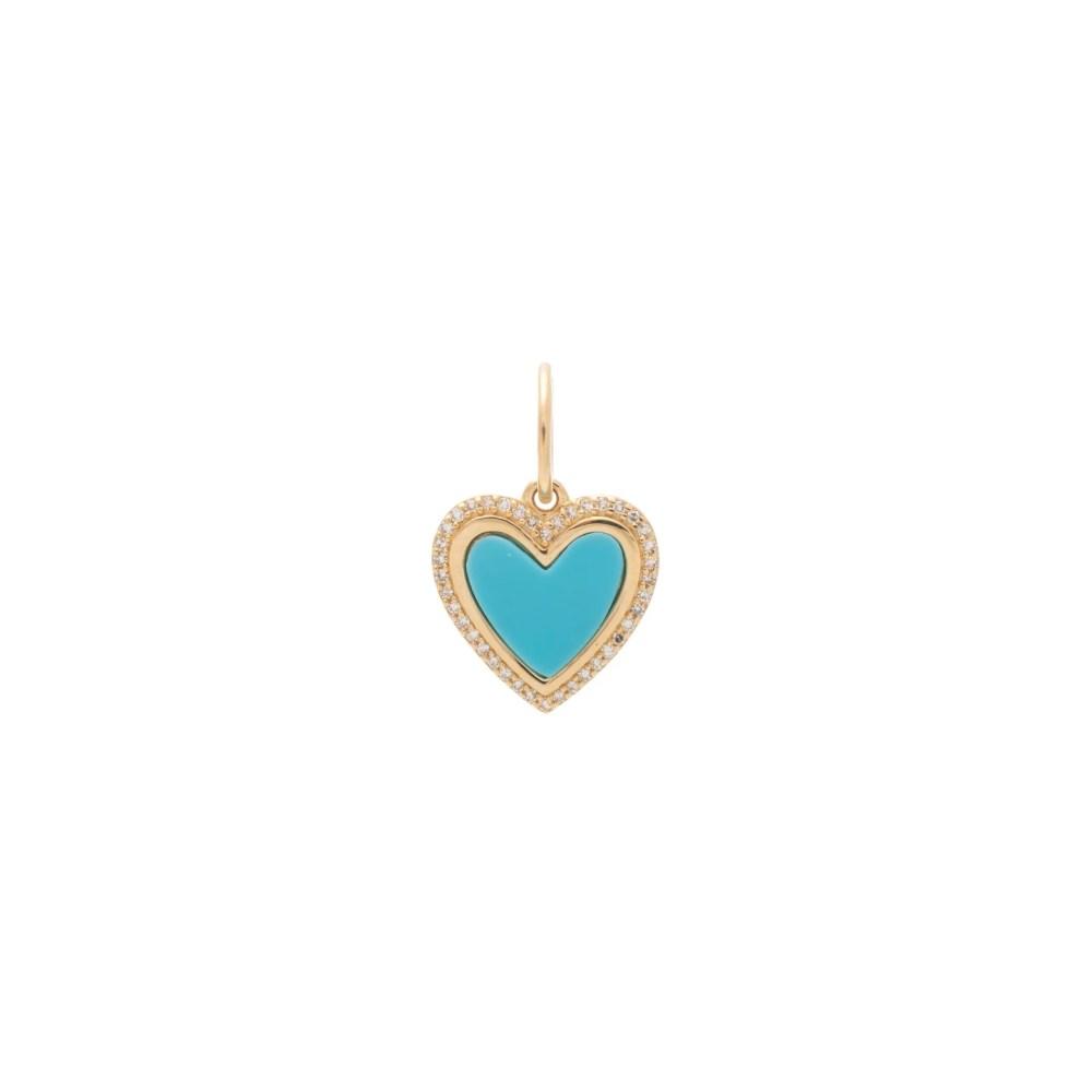 Small Diamond Turquoise Heart Charm Yellow Gold