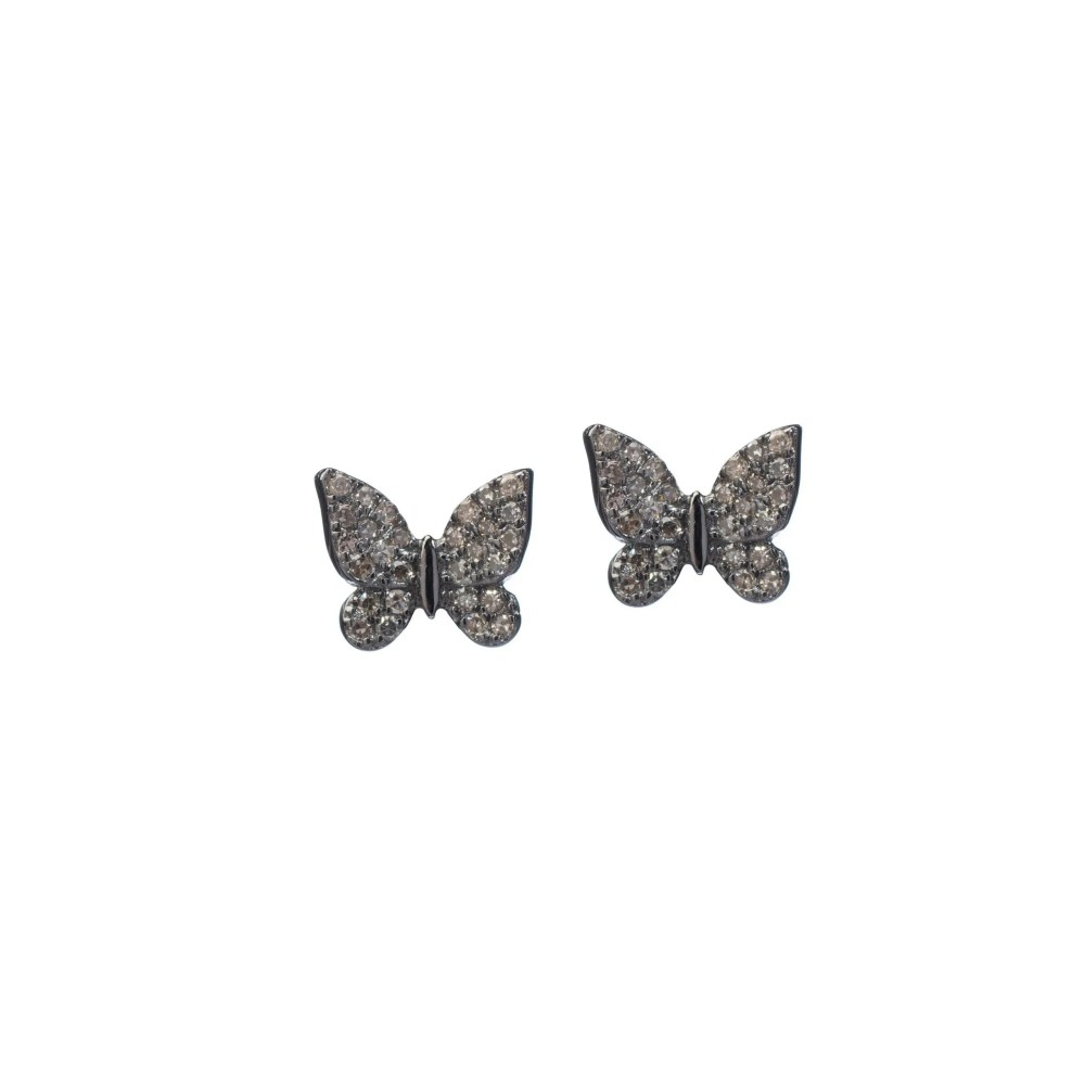 Small Diamond Butterfly Studs Sterling Silver