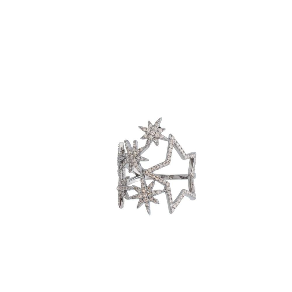Diamond Multi Star Statement Ring Sterling Silver