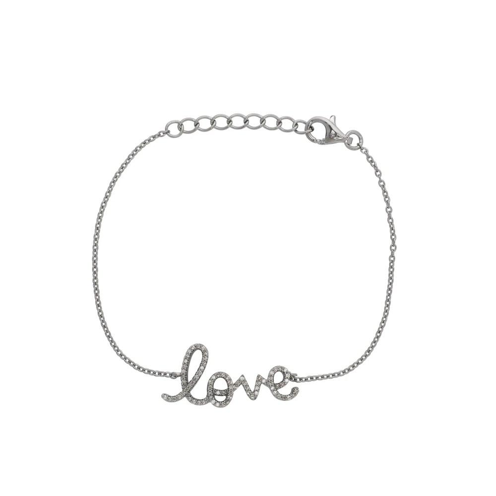 Love Script Chain Bracelet Sterling Silver