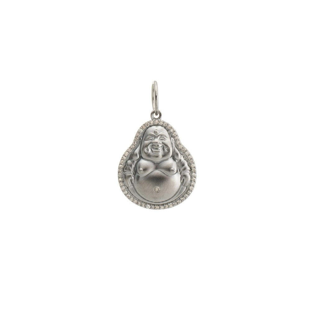 Medium Diamond Happy Buddha Charm Rhodium Sterling Silver