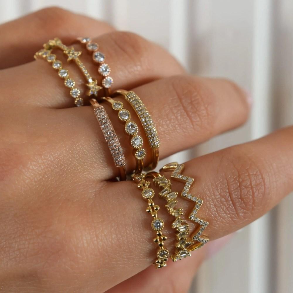 Diamond 5 Stone Stacking Ring