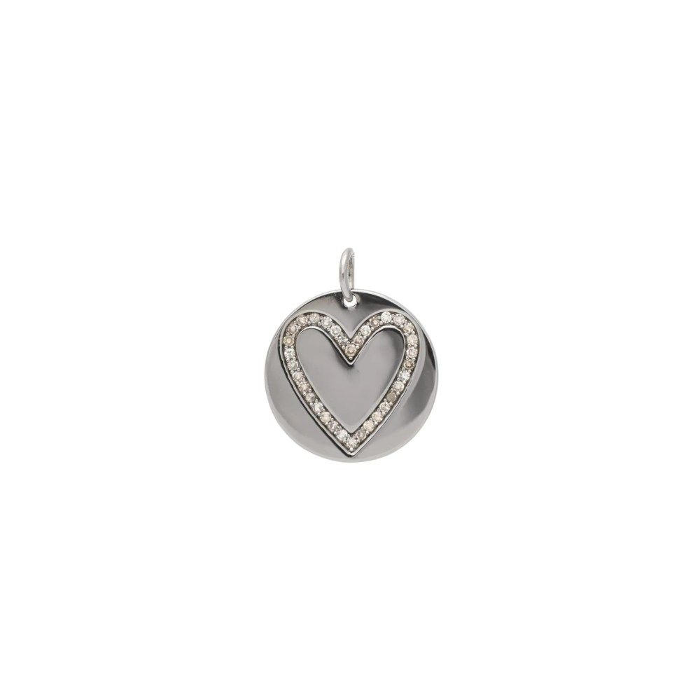 Diamond Heart Disc Charm Sterling Silver