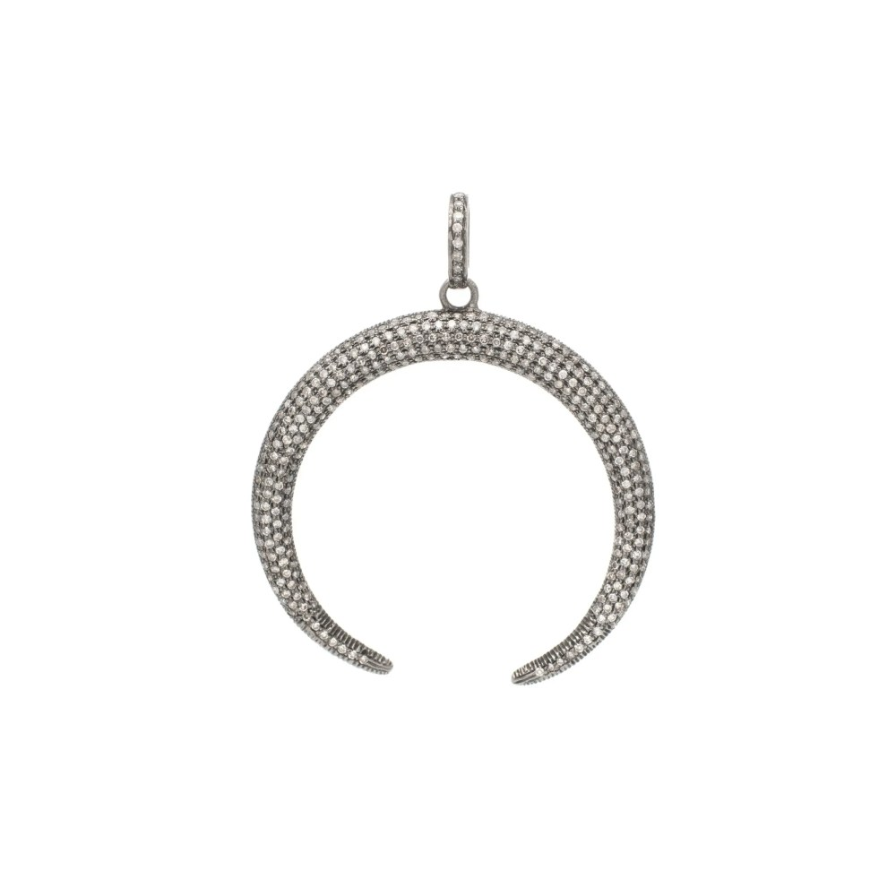 Diamond Large Reverse Horn Pendant