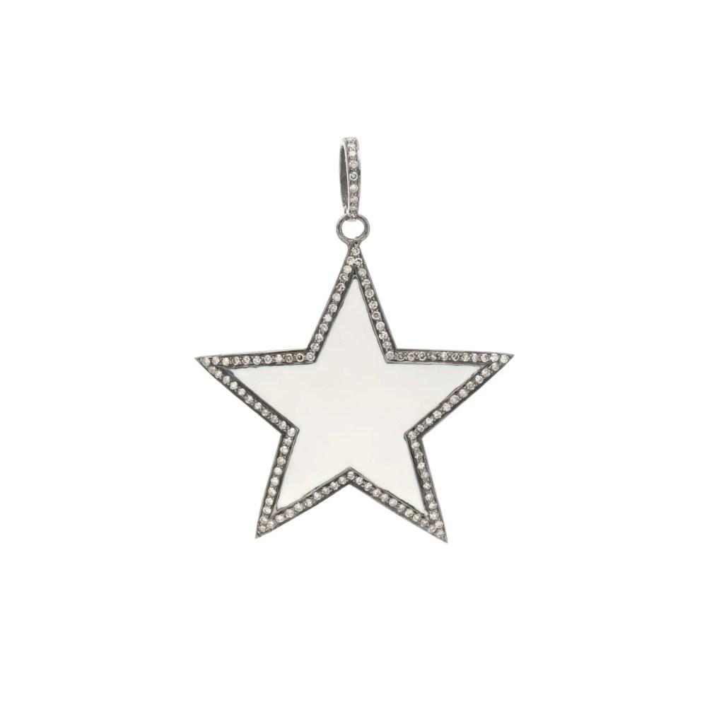 Diamond Large White Enamel Star Pendant