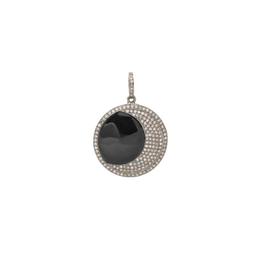 Diamond Moon with Black Onyx Pendant