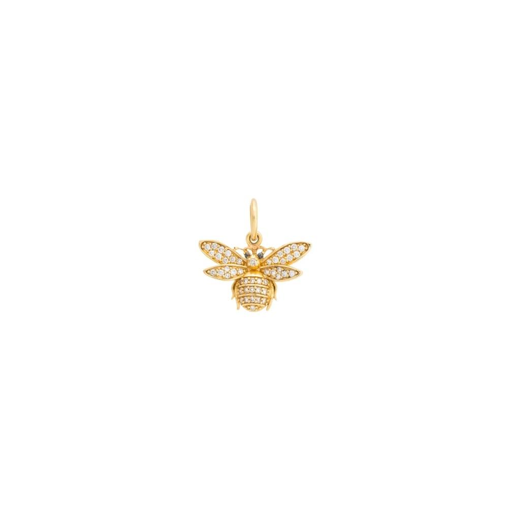 Diamond Bee with Onyx Charm Yellow Gold