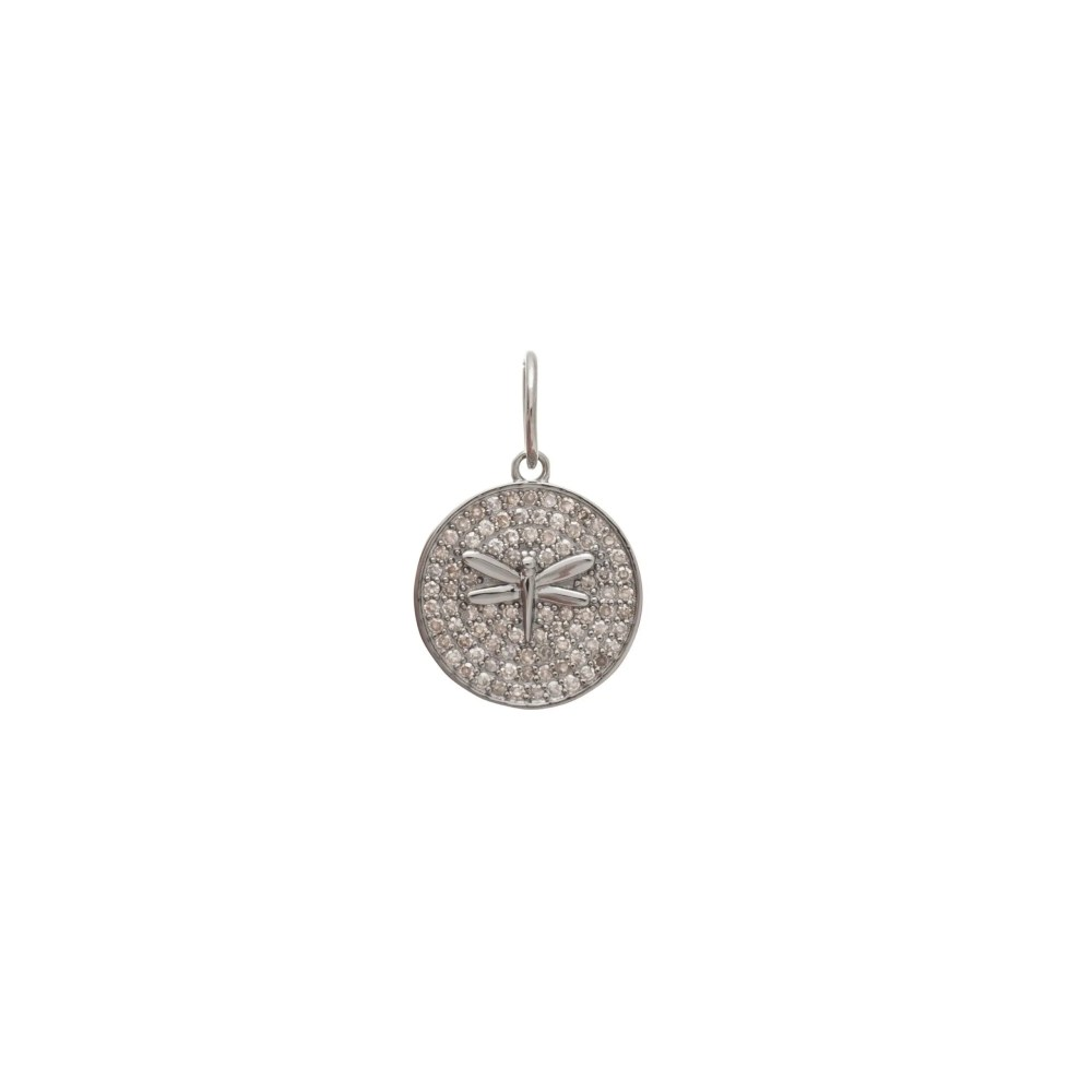 Diamond Disc Dragonfly Charm Sterling Silver