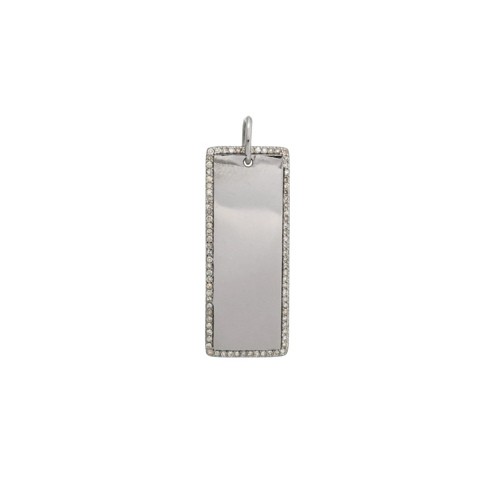 Diamond Encrusted Rectangle Dog Tag Sterling Silver