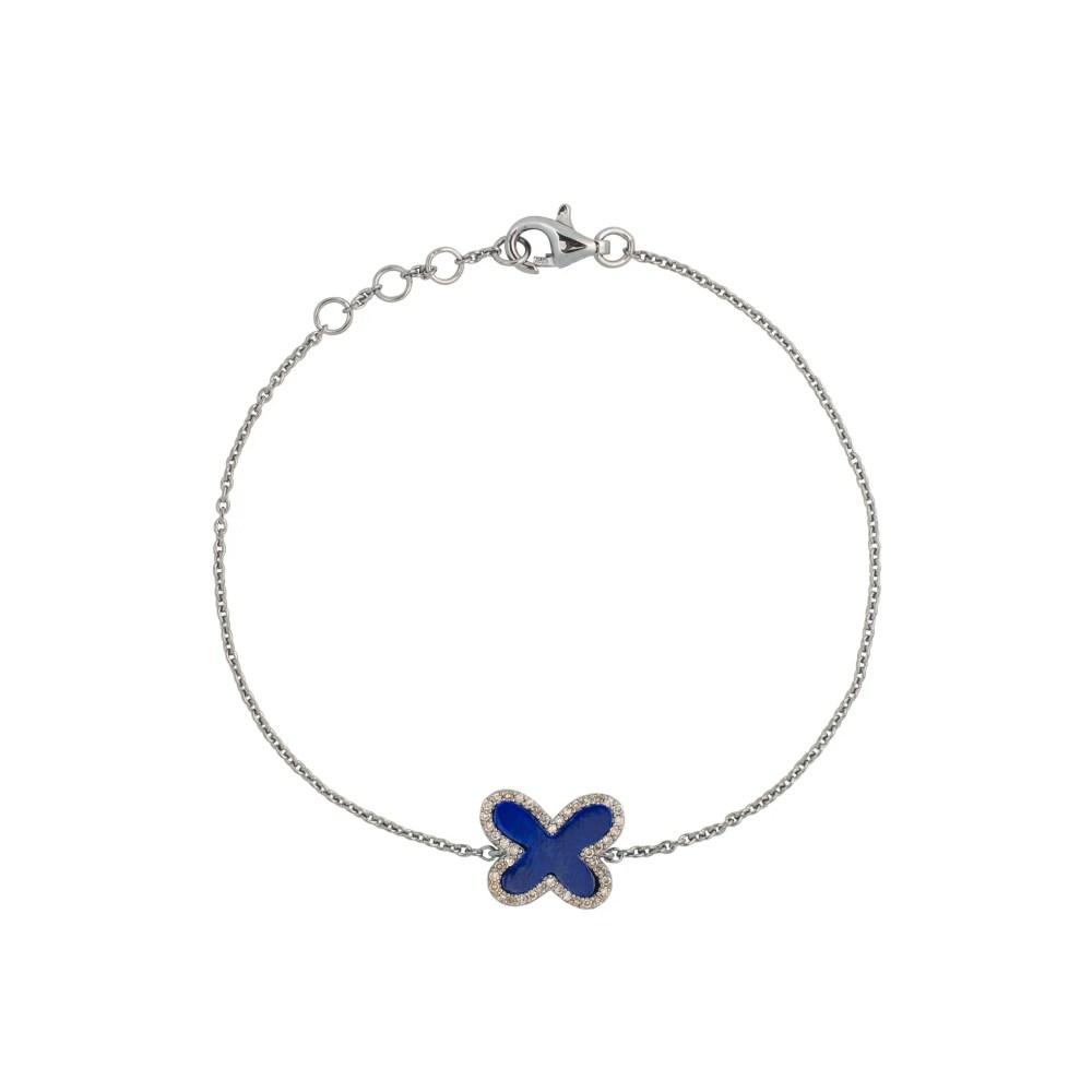 Diamond Mini Lapis Butterfly Bracelet Sterling Silver