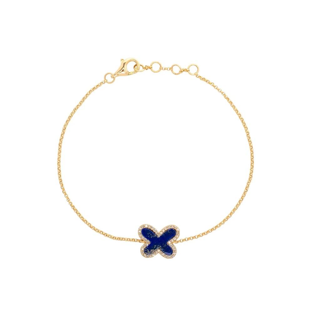 Diamond Mini Lapis Butterfly Bracelet Yellow Gold