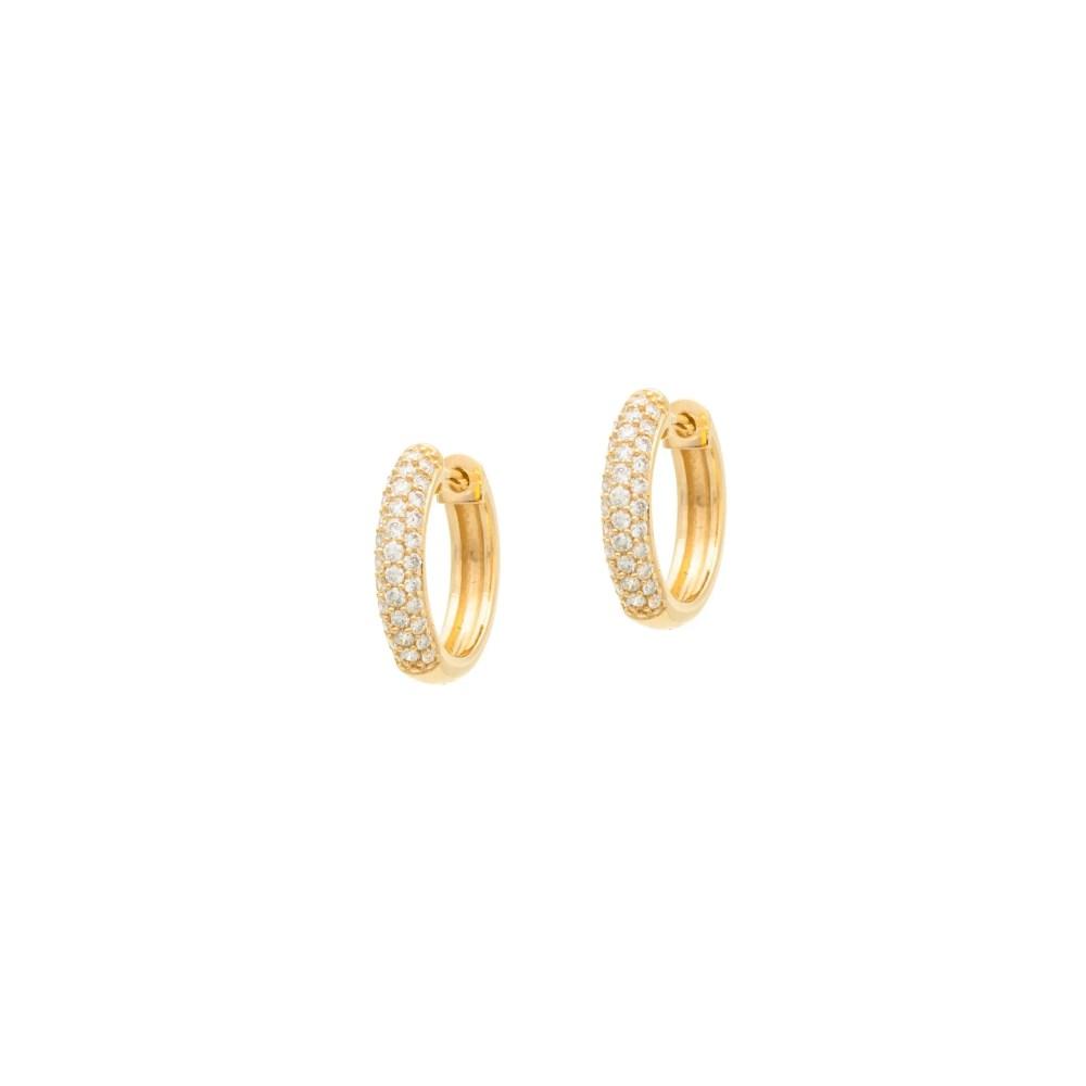 Diamond Pave Huggies Yellow Gold