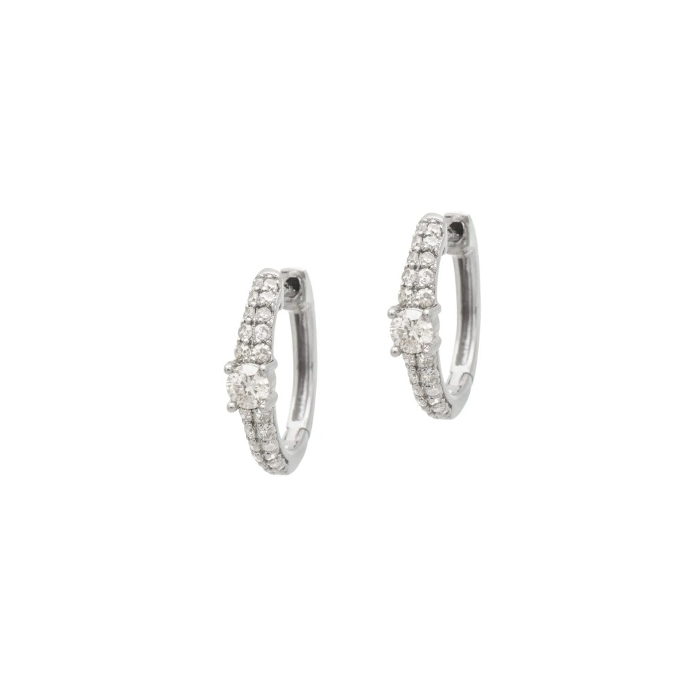 Diamond Pave + Solitaire Huggie Earrings Sterling Silver