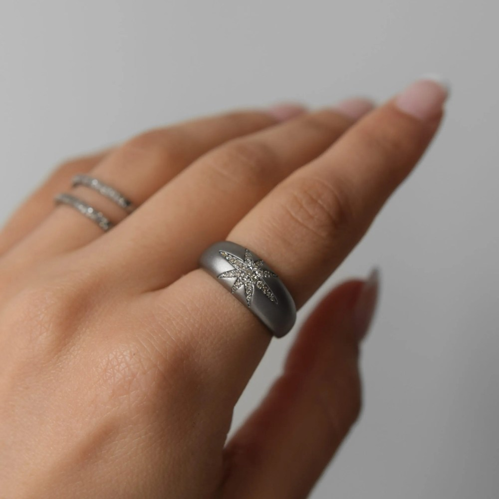 Diamond Starburst Dome Ring