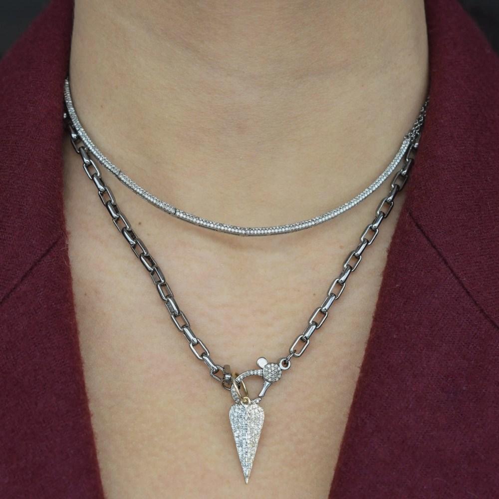 Oblong Diamond Heart Charm