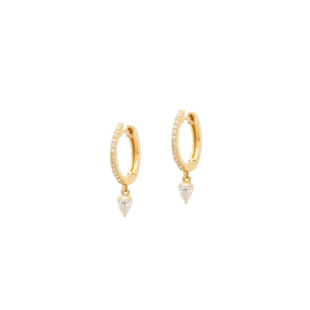 Pear Diamond Dangle Huggie Yellow Gold